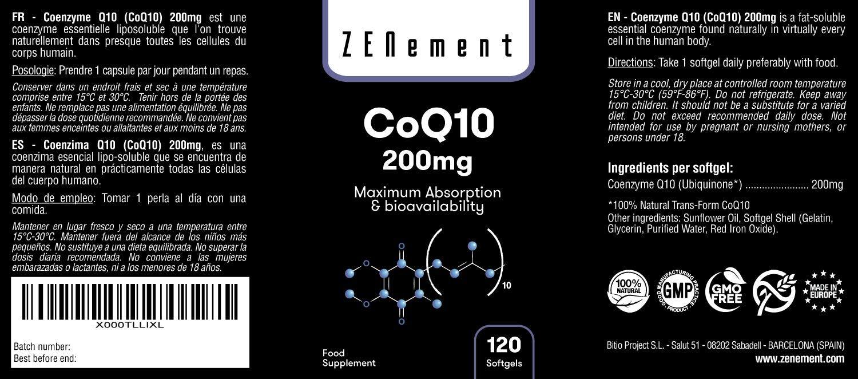 Coenzima Q10 200mg, 120 Cápsulas | Máxima Absorción y Biodisponibilidad | 100% Natural CoQ10, No GMO, Sin Gluten