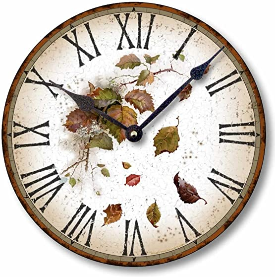 Item C6013 Vintage Style 10.5 Inch Rustic Leaves Clock