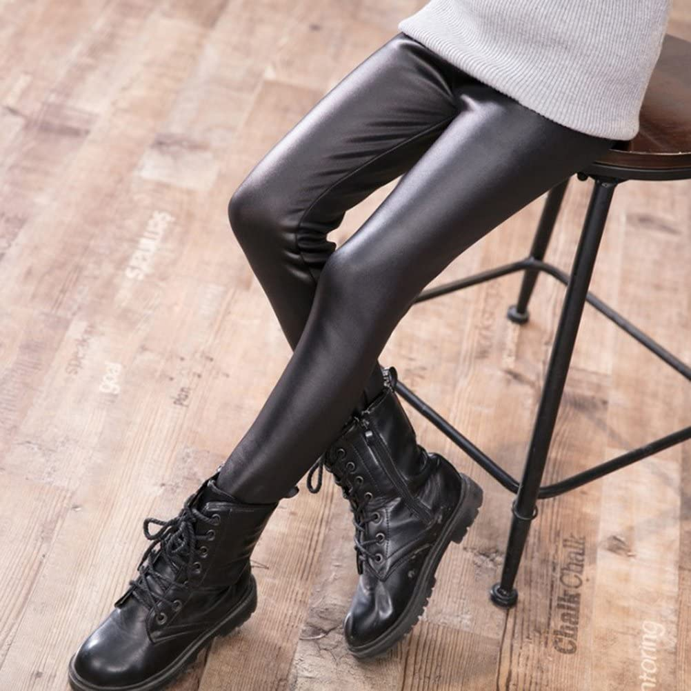 BESTOYARD Leggings Invernali in Morbida Pelle per Bambini Pantaloni Skinny Elasticizzati Senza Cuciture per Ragazze