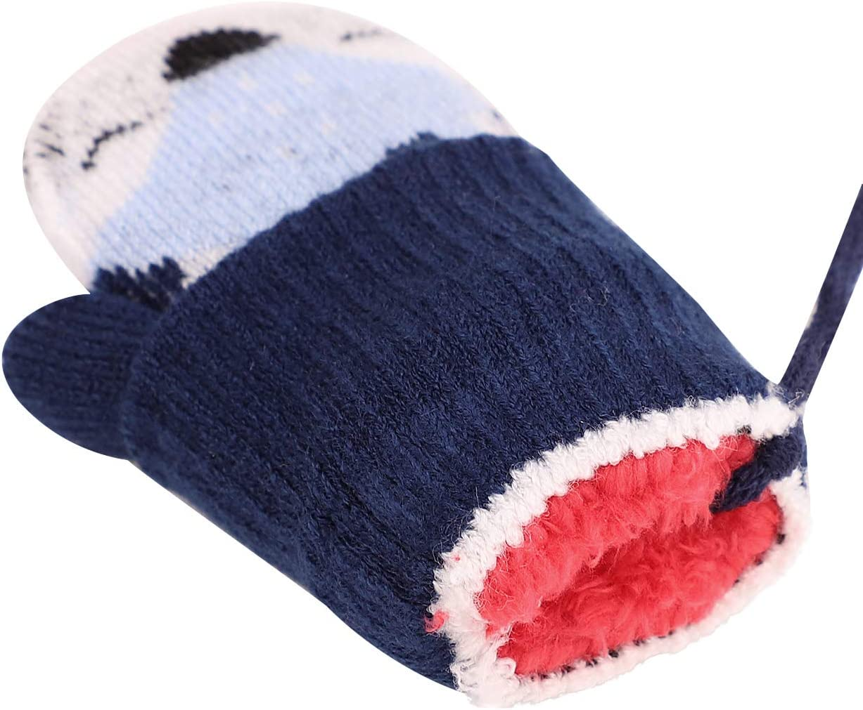 regalo di Natale blu Blu scuro calde con fodera in pelliccia da appendere al collo Muffole magiche per beb/è lavorate a maglia invernali per bambine da 1 a 3 anni