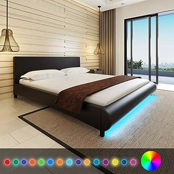 WEILANDEAL Marco de Cama de Cuero Artificial Negro 180 x 200 cm con Tira LED Camas Base con muelles: Amazon.es: Hogar