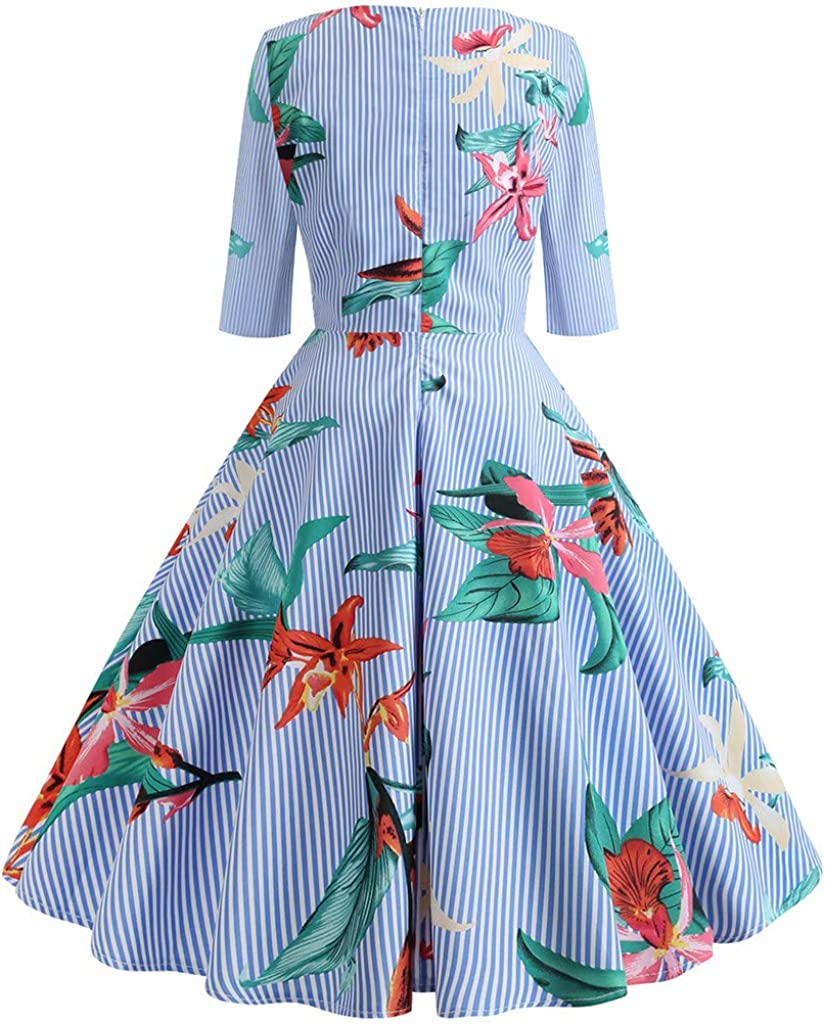 4Clovers Womens Dress Half Sleeve Calf-Length Retro Floral Vintage Dress Audrey Hepburn Style