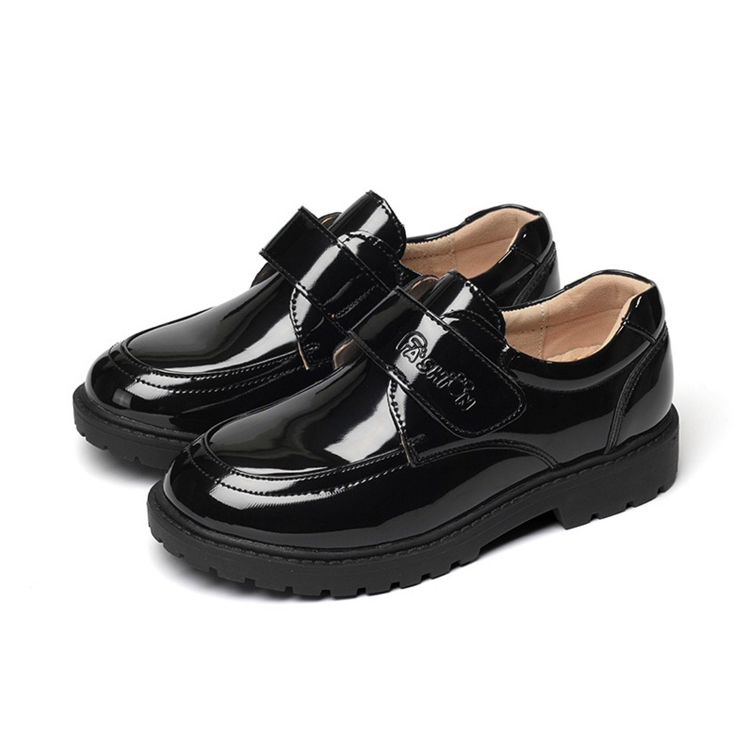 HYF Boys Loafers Kids Shoes Student Performance Flats Slip On Style Single Fastener Band Driving Shoes (Color : Black, Size : 37)