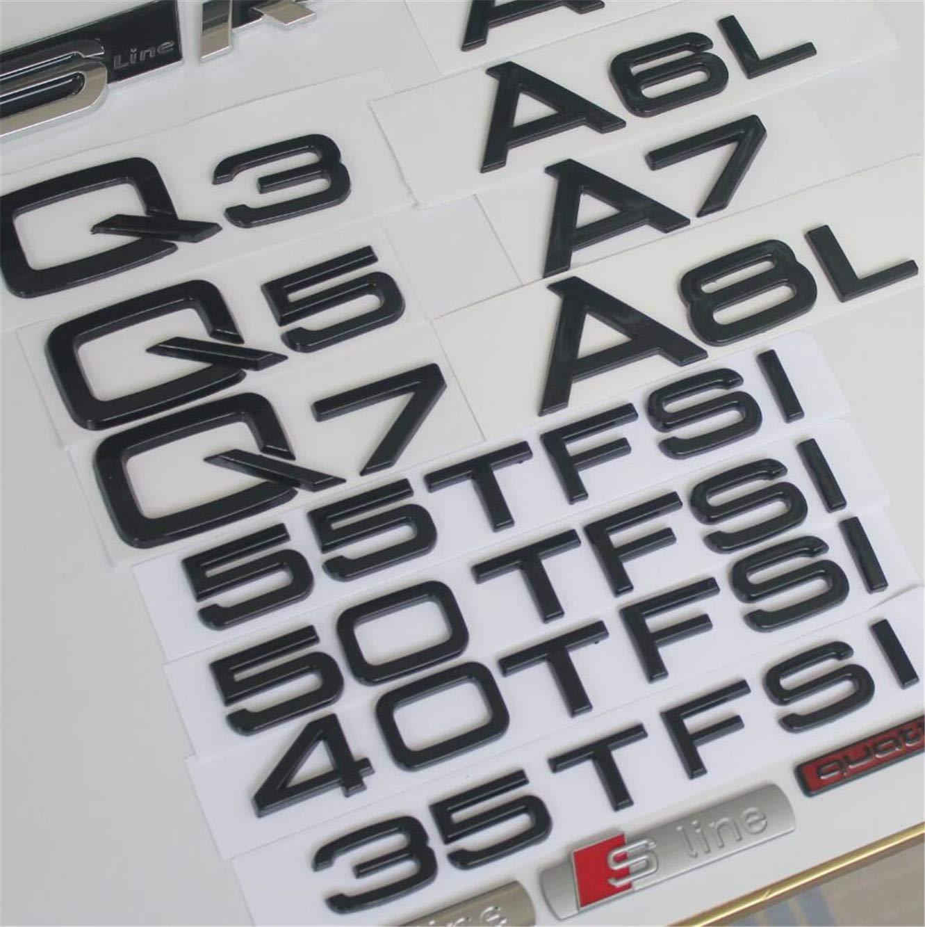 DGF HGF Glossy Black Back Box Letters Badge Emblems A3 A4 A5 A6 A7 A8 A4L A6L A8L Q3 Q5 Q7 35 40 45 50 55 TFSI