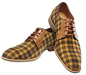 Oxford Real Leather Men Fashion Shoe Yellow Grid Lace-up Dress Shoes (8)