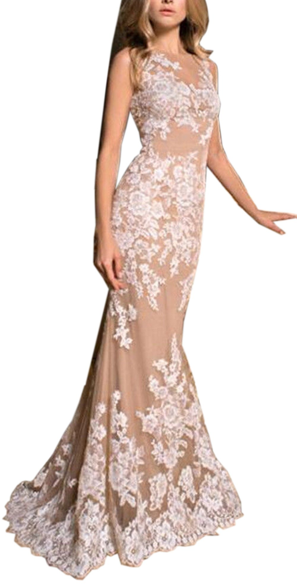 Sayadress Women's Applique Full Dresss Long Mermaid Wedding Dress with Detachable Train Champagne US6