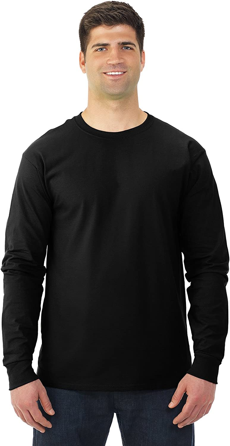 Fruit of the Loom 5 oz. 100% Heavy Cotton HD Long-Sleeve T-Shirt (4930) at  Men's Clothing store