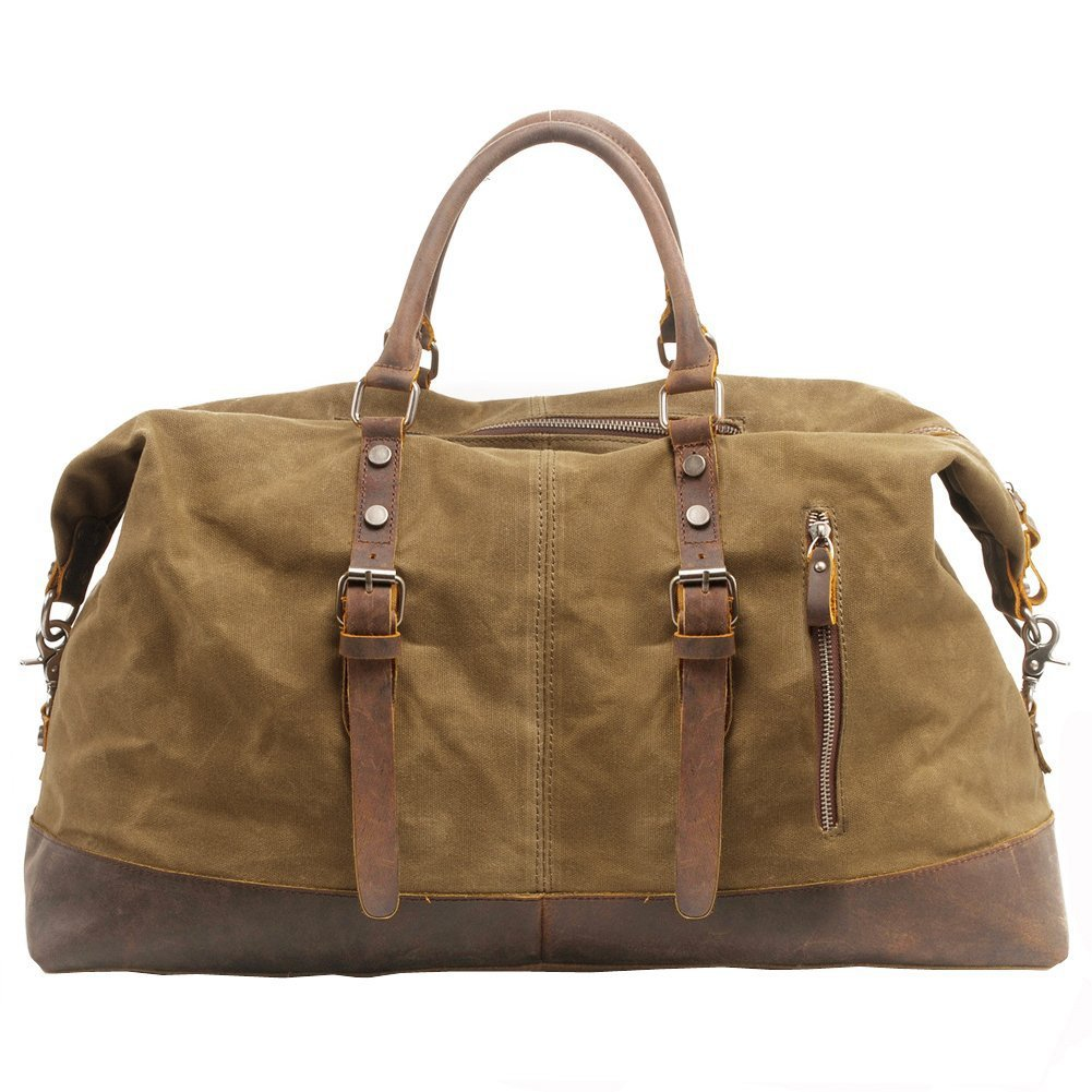 Canvas Duffle Bag, P.KU.VDSL Canvas Leather Weekender Overnight Tote Bag Oversized Travel Handbag Duffels for Men Women