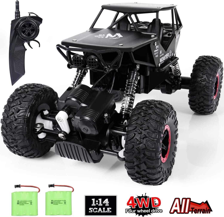 ANTAPRCIS 4WD RC Coche, 1:14 Off-Road Coche Teledirigido, 2.4GHz Crawler de Control Remoto Juguete con 2 Baterías Recargables, Regalo para Niños