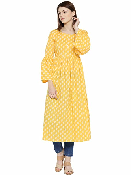 39291819504 Sera Yellow Cotton Floral Printed A-Line Round Neck Long Bell Sleeve Flared  hem Kurta For Ethnic Women s Wear  Amazon.in  Clothing   Accessories