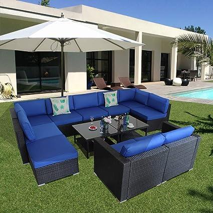 Patio Rattan Sofa Set Outside Sofa Black Rattan Wicker Couch Set Garden  Outdoor Seating Royal Blue Cushions 12pcs