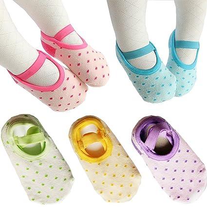 5 pares bebé antideslizante calcetines para 8 – 36 meses bebés bebé niña Mary Jane no