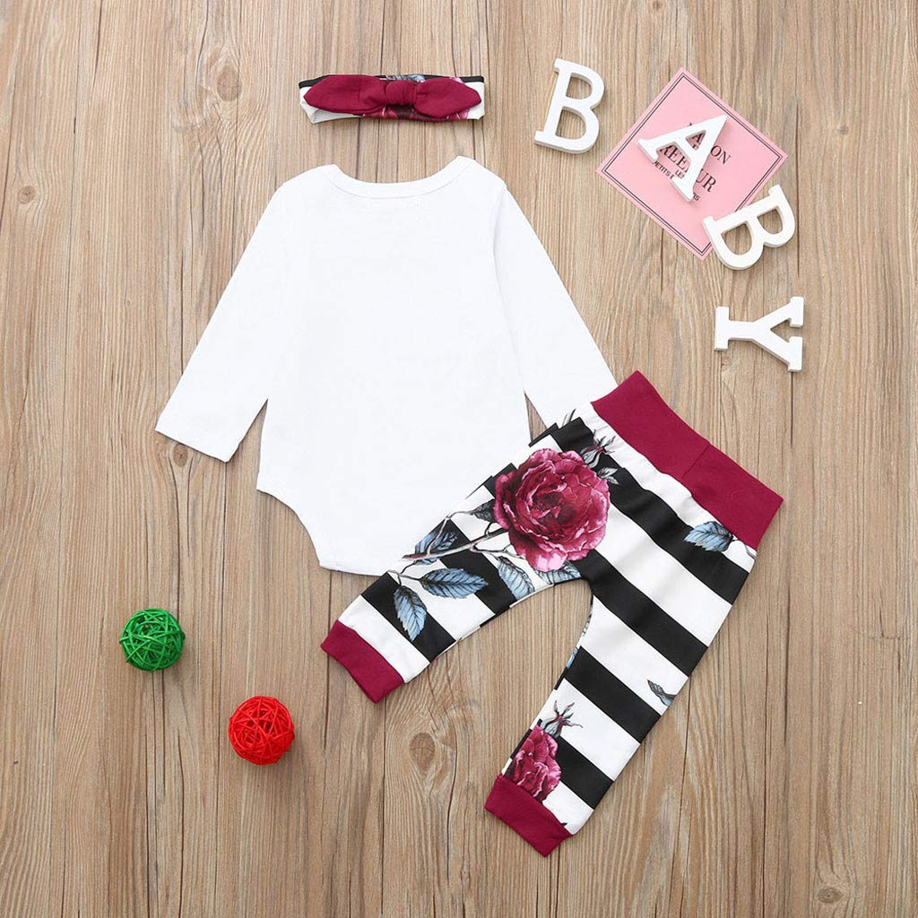 SUNBIBE 3PCS Clothes Set Newborn Toddler Baby Girls Little Sister Rompers Jumpsuit Floral Striped Pants Headband Outfits