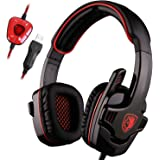 SADES SA901 Pro USB PC Gaming Headset 7.1 Surround Stereo headband headphones with Microphone Deep Bass Volume Controller with Mute function (Black Red)