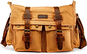 "GEARONIC Mens Canvas Leather Messenger Bag for 14"" 17"" Laptop Satchel"