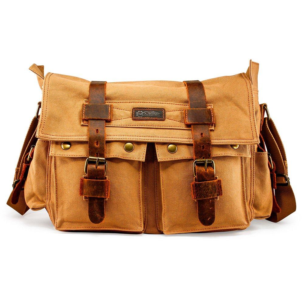GEARONIC 14''-17'' Men's Messenger Bag Laptop Satchel Vintage Shoulder Military Crossbody … (14 inch, Brown)