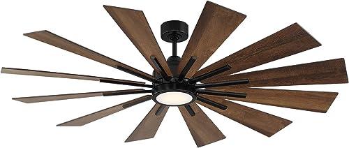 Savoy House 60-760-12AO-89 Farmhouse 60″ Antique Oak Ceiling Fan 60″ W x 62″H