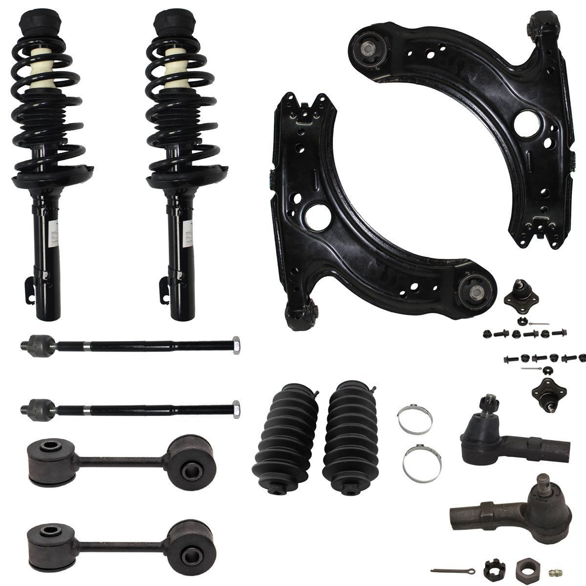 Detroit Axle - New 14pc Left & Right Complete Front Quick Strut & Coil Spring Suspension Kit Fits VW Jetta Golf