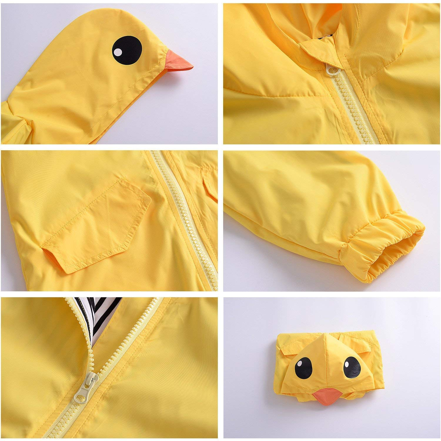 YOUNGER TREE Toddler Baby Boy Girl Duck Raincoat Cute Cartoon Hoodie Zipper Coat Outfit (Yellow, 80) by YOUNGER TREE (Image #4)