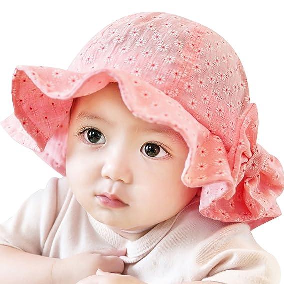 Rrimin Toddler Infant Sun Cap Summer Outdoor Baby Girl Sun Beach Bucket Hat  4 Colors ( 8f1ff30da49