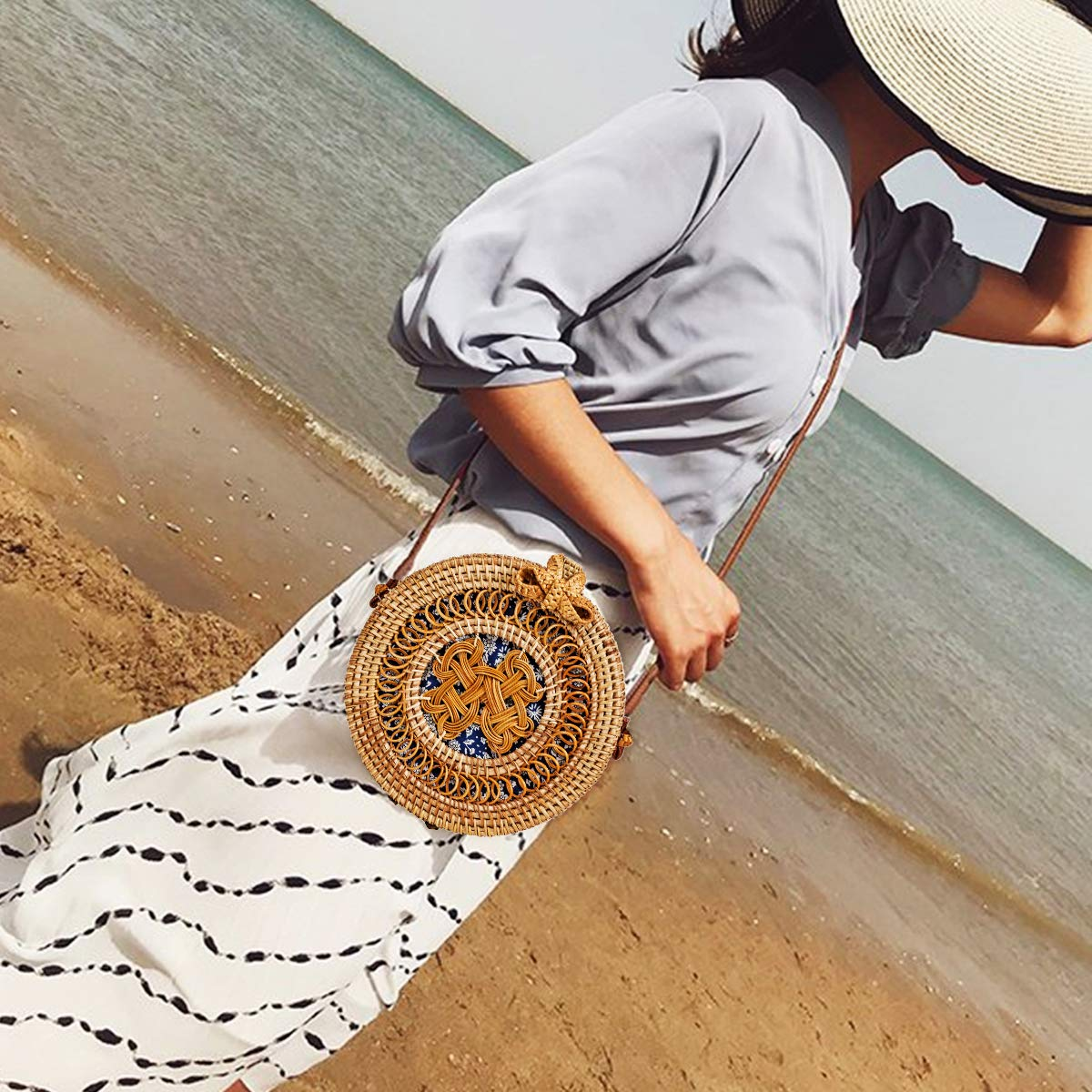 Rattan Bag for Women Lefur Round Handwoven Shoulder Straw Bag Crossbody Purse with Handles Handmade Hollow-Carved