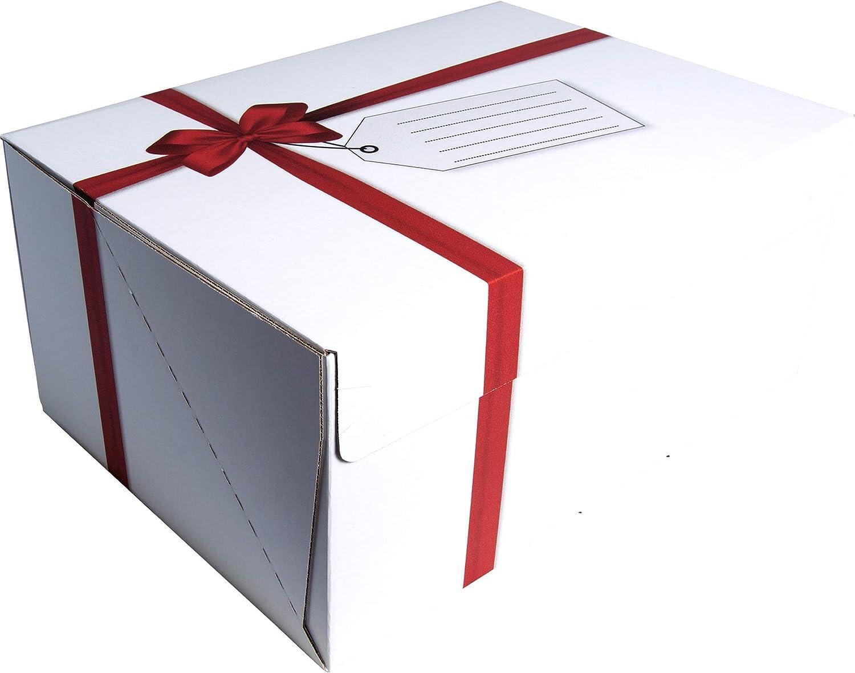 Bankers Box 7371201 - Caja de envío Missive decorativa, diseño de cinta roja, montaje fácil y rápido sin adhesivo, 347 x 247 x 154 mm, 20 unidades: Amazon.es: Oficina y papelería
