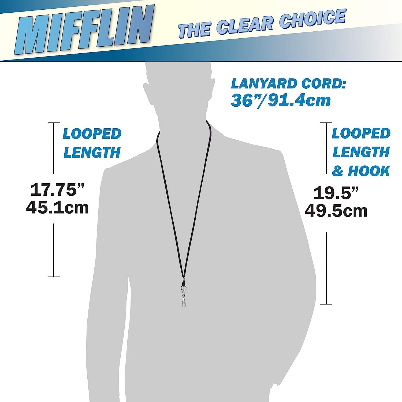 cavo nero, porta carte trasparente 90x60 mm, confezione da 6 MIFFLIN Cordino con porta nome ID verticale