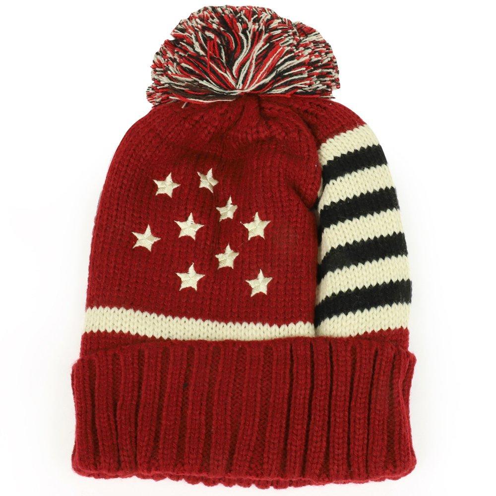 Trendy Apparel Shop HAT レディース L バーガンディー B0775BM8TV