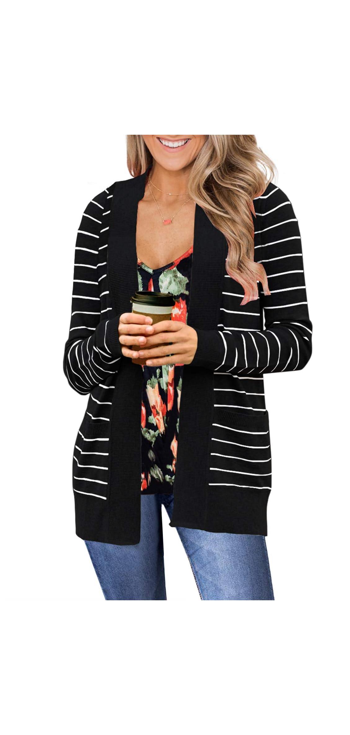 Women Open Front Striped Cardigans Sweater Long Sleeve
