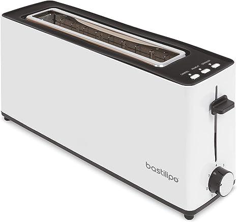 Bastilipo - Firefox - AB900 - Tostador - Tostadora Ranura larga para dos rebanadas de 900W de potencia - función descongelar - Bandeja recogemigas ...