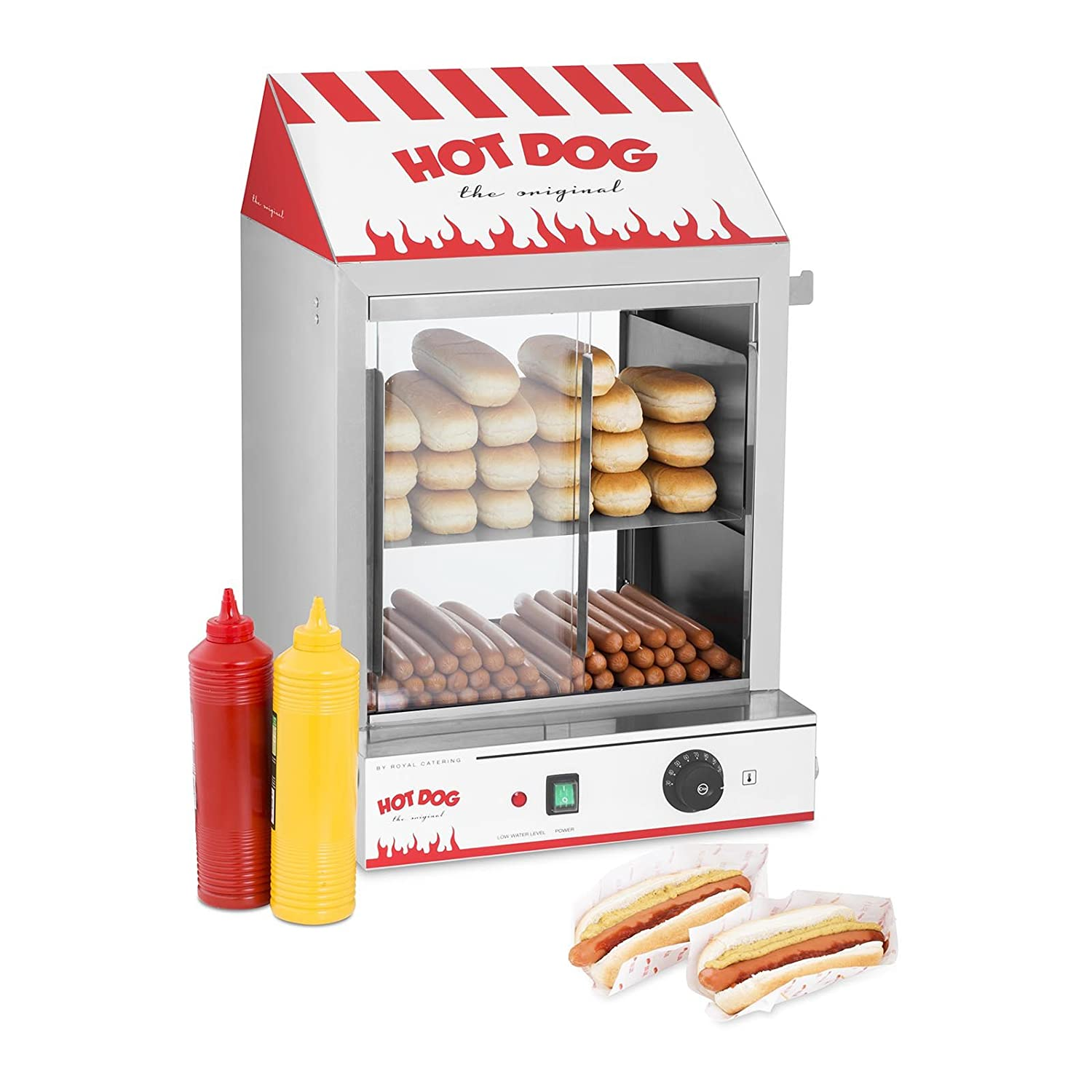 Capacity: 200 Sausages, 50 Buns, 2000 W, Stainless Steel, Temperature Range: 30-110/°C, Drain tap Royal Catering Hot Dog Steamer RCHW 2000