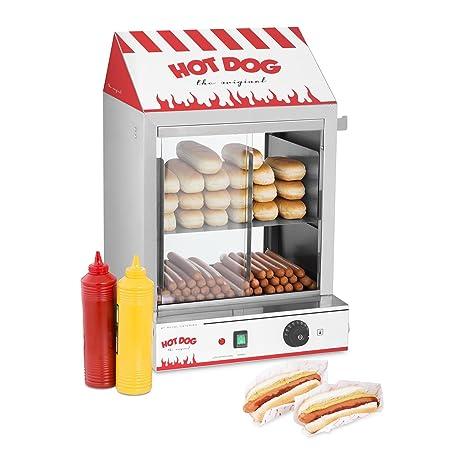 Royal Catering Máquina de Perritos Calientes al Vapor Hot-Dog Machine RCHW 2000 (2000 W, Capacidad 200 salsicce, 50 panecillos, Temperatura 30-110 °C, ...