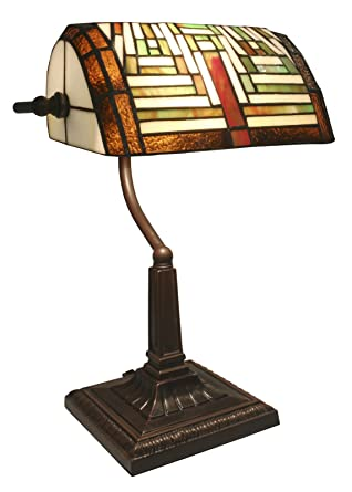 38cm Art Deco Bankers Table Desk Lamp Tiffany Style Glass