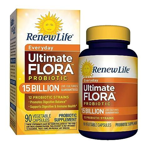 Amazon.com: Renew Life Adult Probiotic - Ultimate Flora Everyday Probiotic, Shelf Stable Probiotic Supplement - 15 Billion - 90 Vegetable Capsules: Health ...