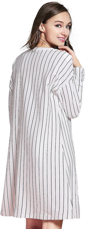 JOYNCLEON Womens Nursing Nightgown Striped Maternity Dress for Hospital Breastfeeding Short//Long Sleeve Sleepwear Cotton