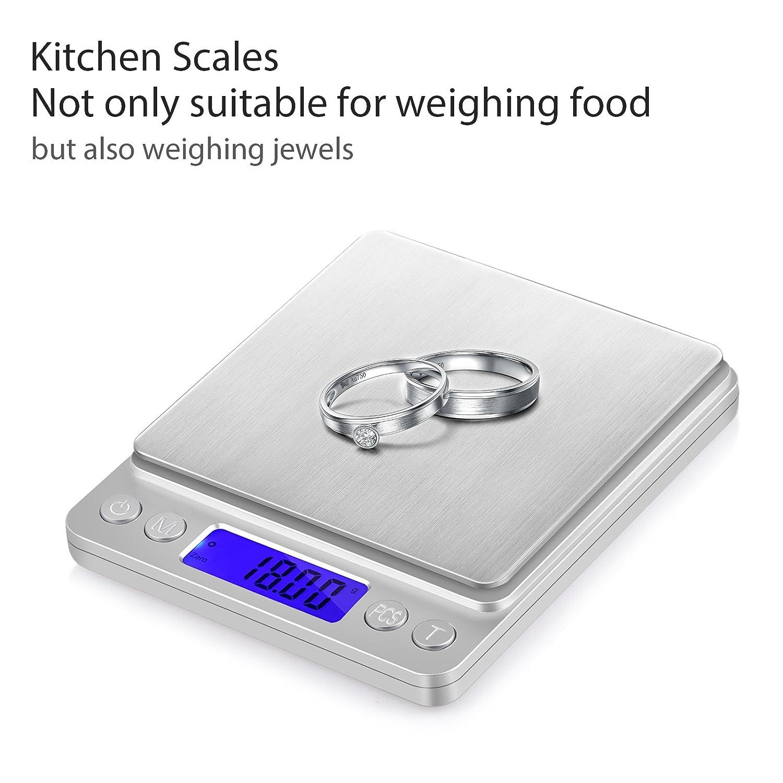 Colore Argento Neoteck Mini Bilancia Digitale Tascabile 0.01-500g Scala Postale//Bilancino Pesa Oro Gioielli Moneta//Bilancia per Cibo da Cucina