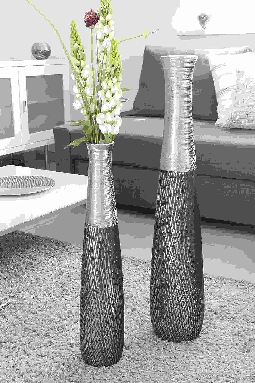 GILDE Keramik Vase Charleston anthrazit Silber H = 60 cm D = 1,2 cm
