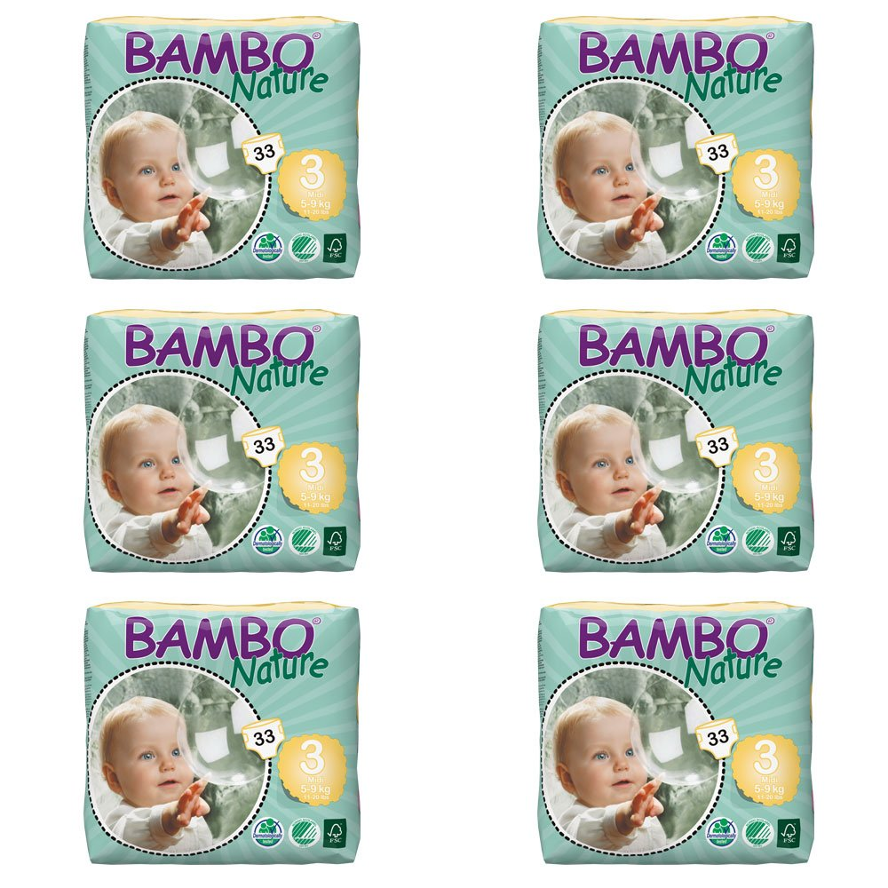 Bambo Nature Midi Size 3 (11-20lb / 5-9kg) Premium Eco-Nappies - 66 pieces per Tall Pack Abena 310143
