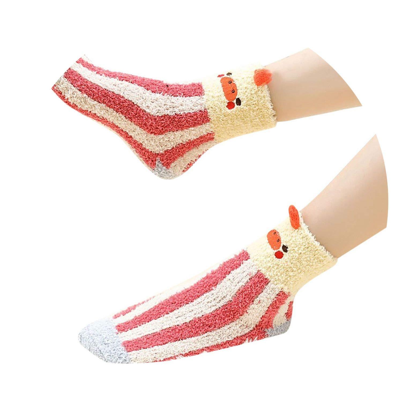 Girls Socks ies Girls Christmas 3D s Design Indoor Fluffy Bed,E,One Size