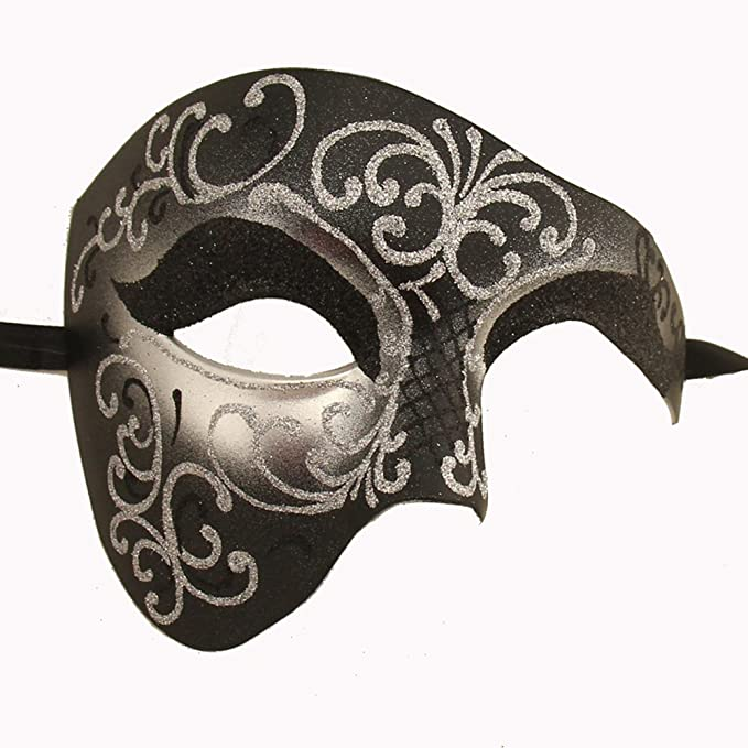 Men/'s White Phantom Of The Opera Venetian Masquerade Mask Half Face BRAND NEW
