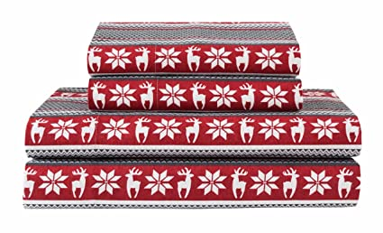 Elite Home Products Deep-Pocketed Winter Nights 100% Cotton Flannel Sheet Set, King, Deer/Red best king-sized flannel sheets
