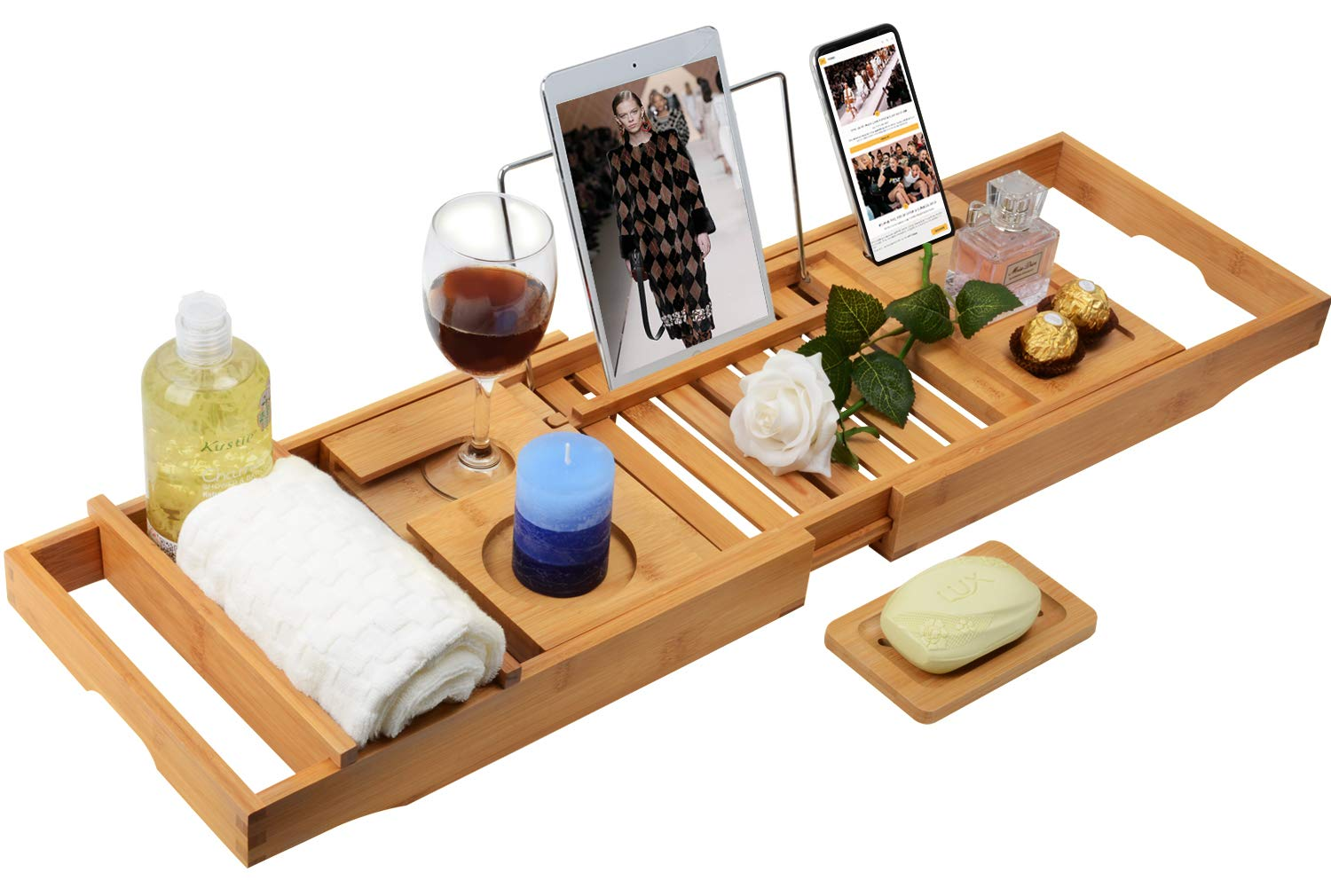 Domax Bathtub Caddy Tray with Wine Glass Holder Adjustable Book Stand Extendable Non Slip Sides Bamboo Bath Organizer
