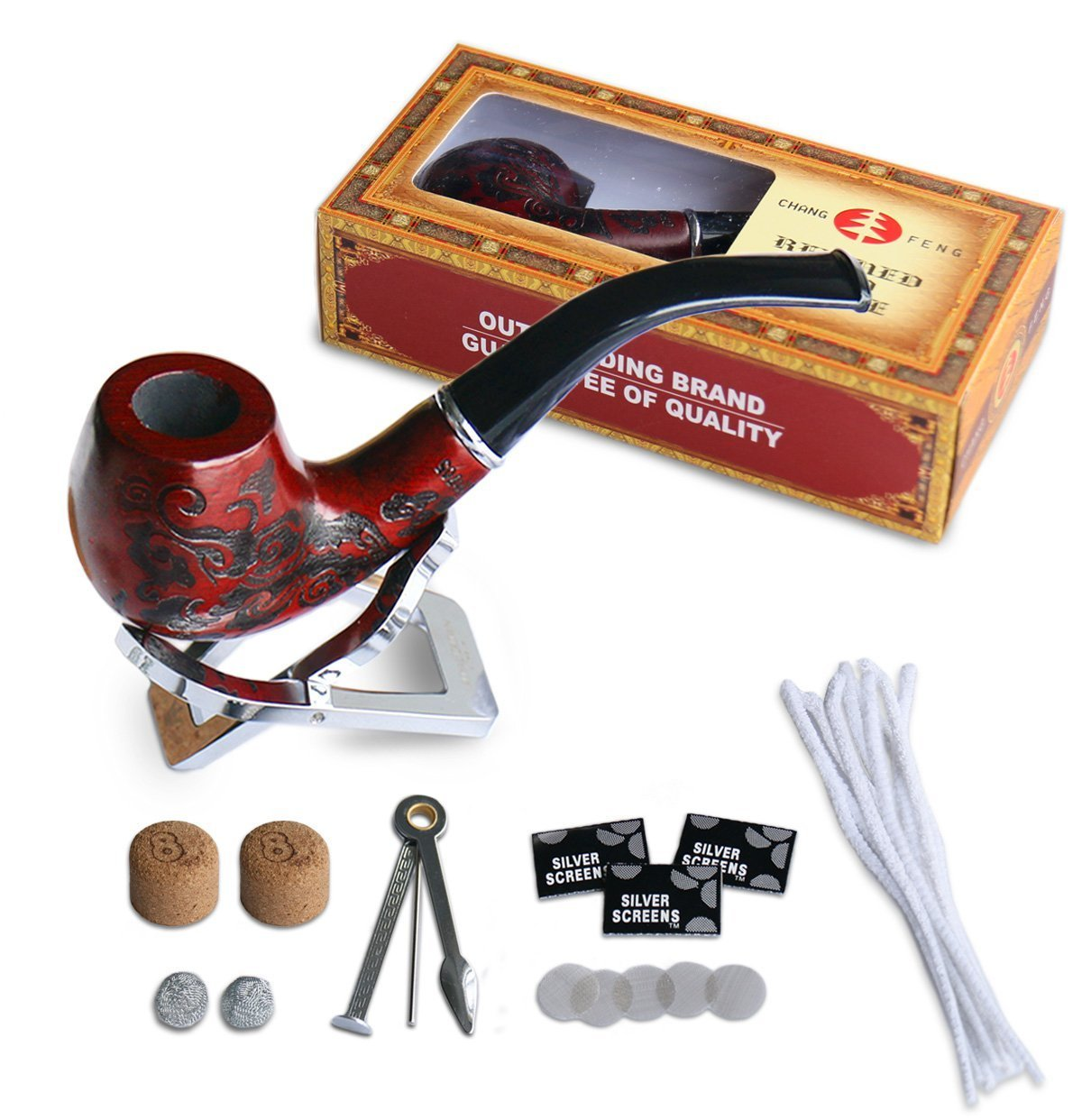 Joyoldelf Wooden Cigarette Tobacco Smoking Pipe with 3-in-1 Pipe Scraper + 2 Cork Knockers + 10 Pipe Cleaners + 2 Metal Screen Percolator Leach Nets + 3 Packs of 5 Pipe Screens + Pipe Holder by Joyoldelf