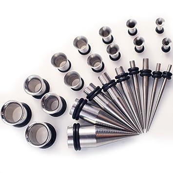 Gauge Gear® Juego de 28 expansores y túneles de Acero Inoxidable para Piercing de Orejas, de 1,3 a 10 mm: Amazon.es: Hogar