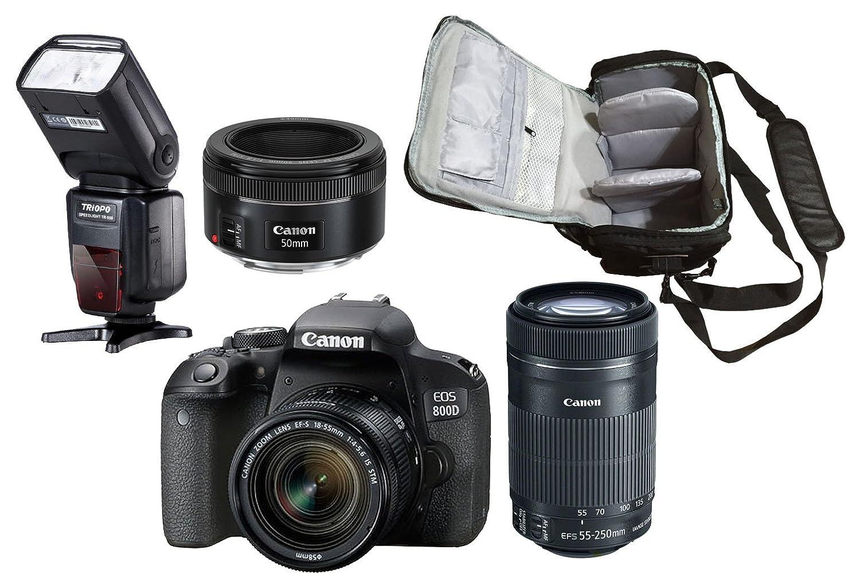 800D DSLR Cámara + EF-S 18-55mm + EF-S 55-250mm + EF 50mm Lente + ...