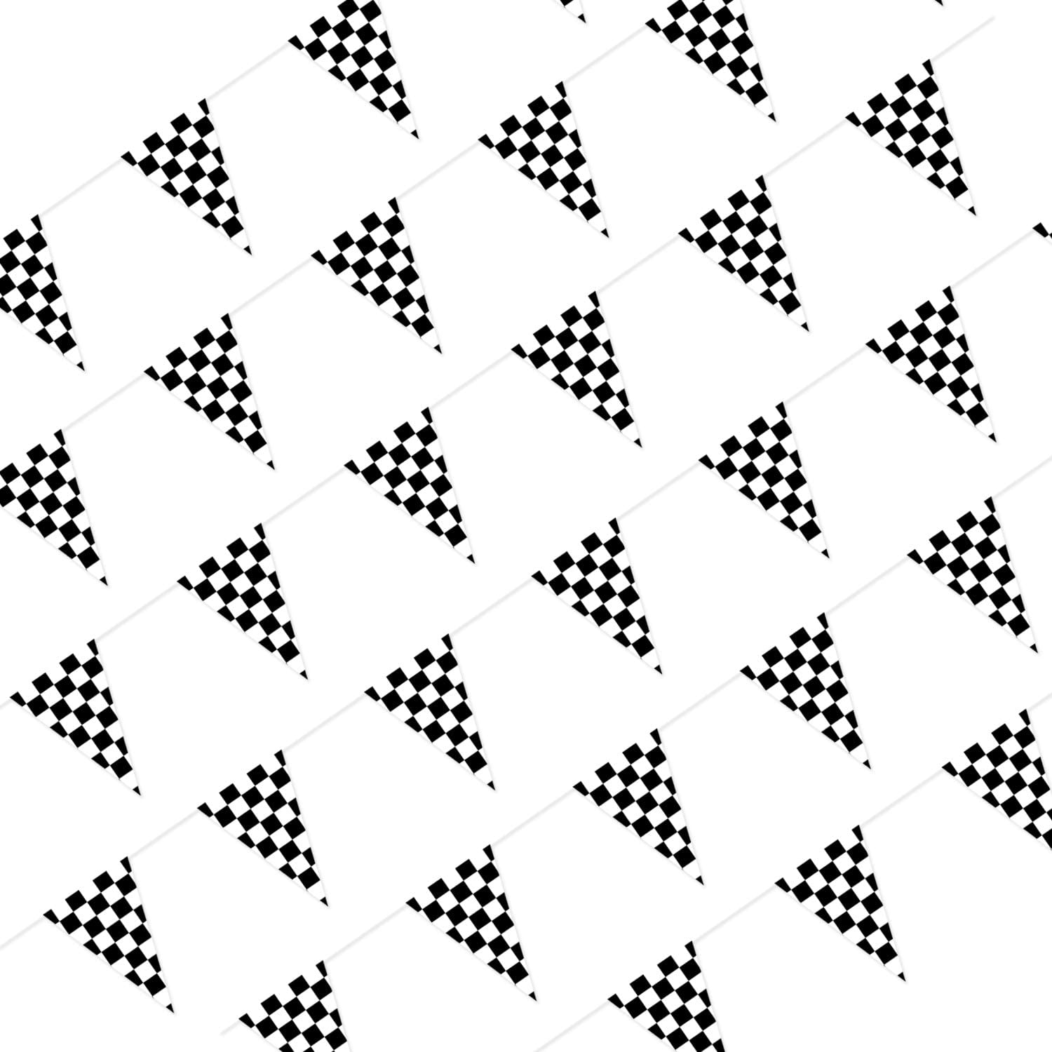 Piokio 100ft Black and White Checkered Flag Banner Racing Birthday Decorations, for Nascar Race Party Suppliesaa