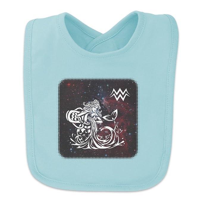 cce09b82a Aquarius Water-Bearer Zodiac Sign Horoscope in Space Baby Bib - Blue