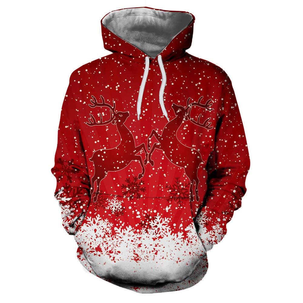 Christmas Sweatshirt,Unisex Couples Xmas Party Hoodies Winter Elk Reindeer Printed Hooded Tops Fashion