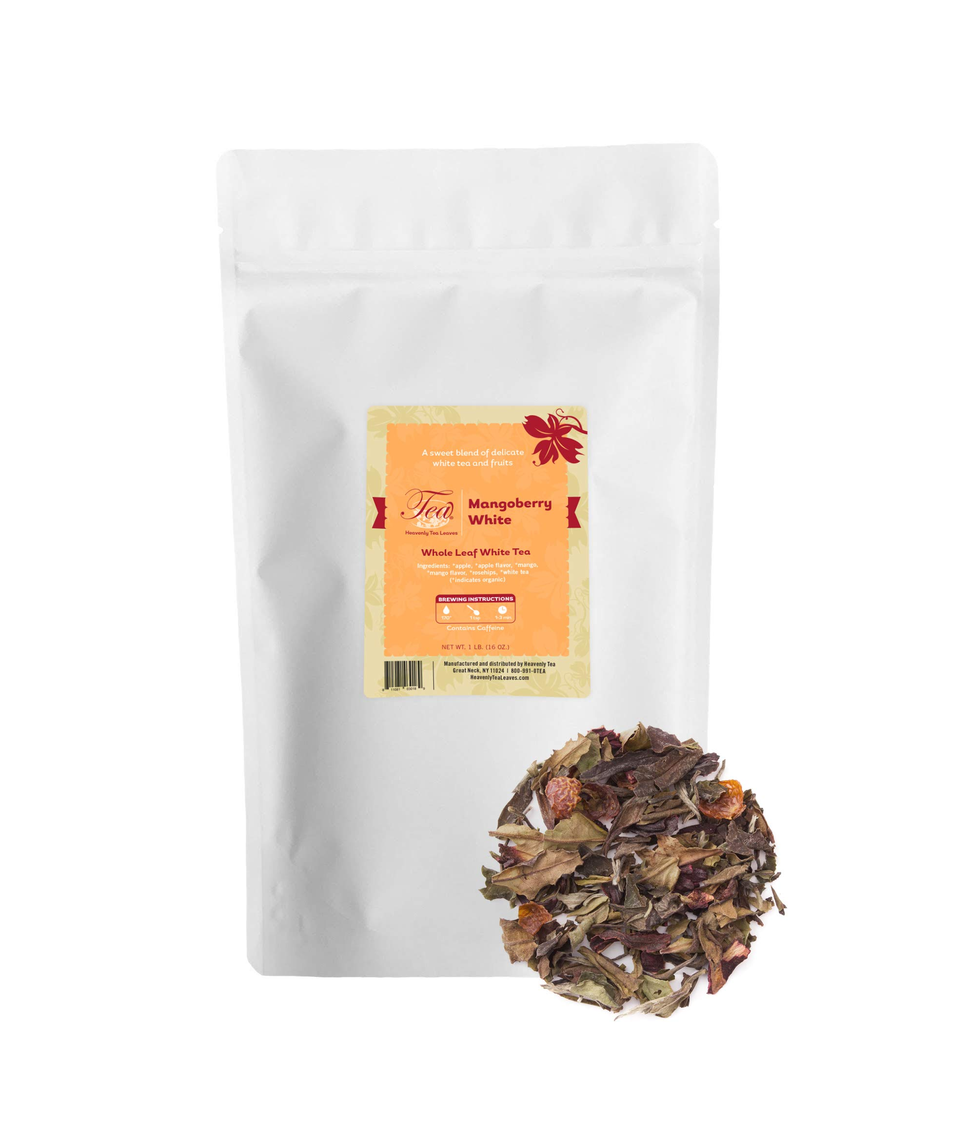 Heavenly Tea Leaves Mangoberry White Tea, Bulk Loose Leaf Tea, 16 Oz. Resealable Pouch by Heavenly Tea Leaves