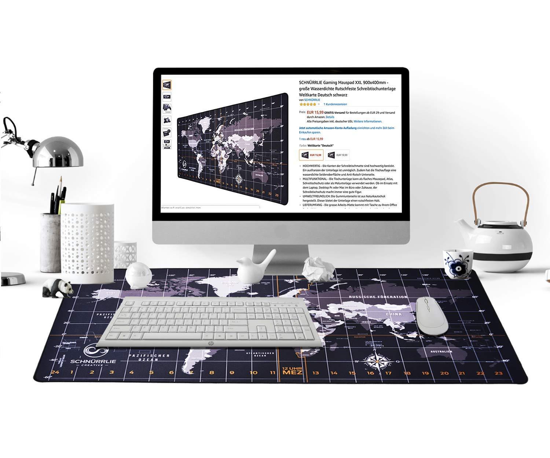 Tischunterlage 90x40 cm schwarz SCHN/ÜRRLIE Schreibtischunterlage Weltkarte deutsch